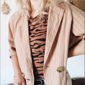 Urban Outfitters | Oversized Striped Linen Blazer